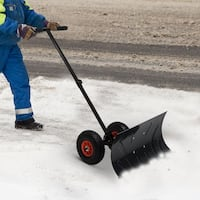 Overstock.com deals on Heavy Duty Steel Adjustable Rolling Snow Shovel Pusher