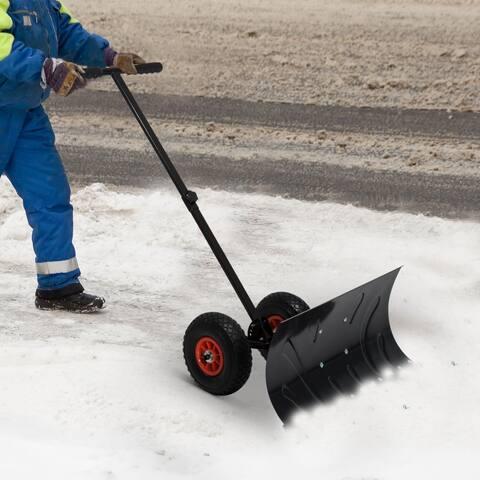 Heavy Duty Steel Adjustable Rolling Snow Shovel Pusher - N/A