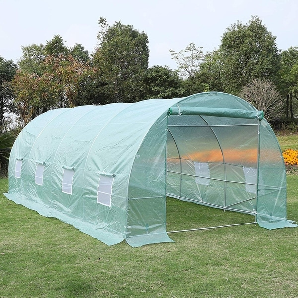 Outsunny 20' x 10' x 7' Freestanding High Tunnel Walk-In Garden Greenhouse Kit - Green