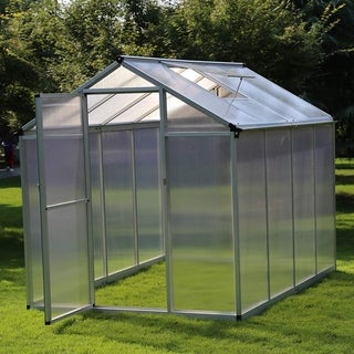 Outsunny 8 x 6 x 6.5 ft Polycarbonate Aluminum Frame Stable Walkin Garden Greenhouse with Opening Roof & UV-Resistance