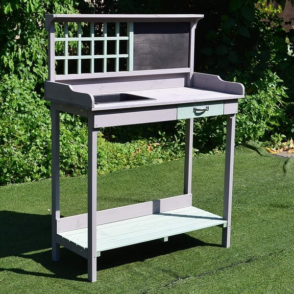 Astonishing Shop Outsunny Outdoor Rustic Wooden Potting Bench Garden Caraccident5 Cool Chair Designs And Ideas Caraccident5Info