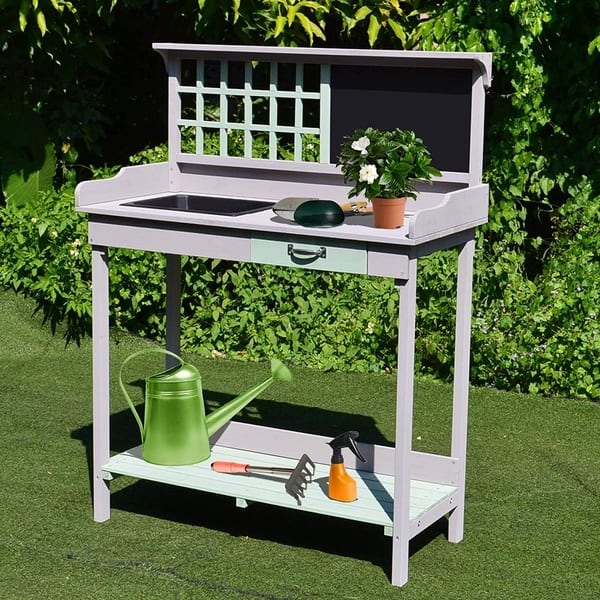 Terrific Shop Outsunny Outdoor Rustic Wooden Potting Bench Garden Caraccident5 Cool Chair Designs And Ideas Caraccident5Info