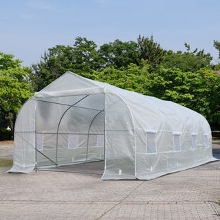 Outsunny 20' x 10' x 7' Deluxe High Tunnel Walk-In Garden Greenhouse Kit with Plastic Cover & Roll-up Entrance - White