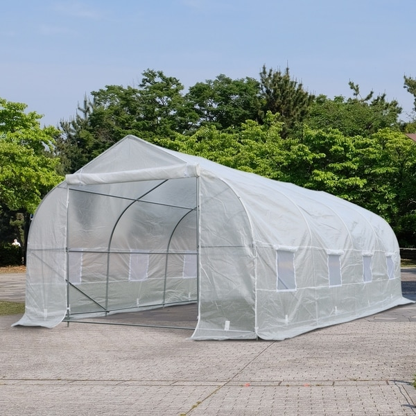 Outsunny Deluxe High Tunnel Garden Greenhouse Kit with Plastic Cover & Roll-up Entrance