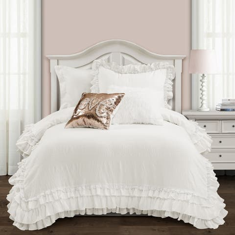 Silver Orchid Gerard Shabby Chic Ruffle Lace Comforter Set