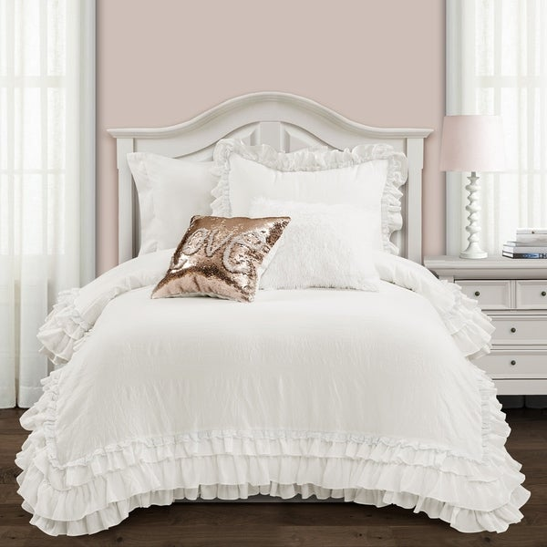 Silver Orchid Gerard Shabby Chic Ruffle Lace Comforter Set. Opens flyout.