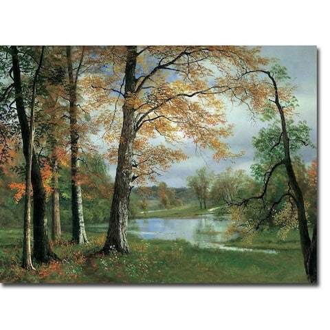 A Quiet Pond by Albert Bierstadt Gallery Wrapped Canvas Giclee Art (18 in x 24 in)