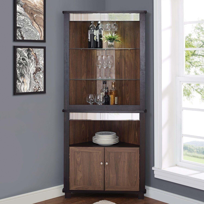 Arms Espresso Corner Bar Unit Overstock 28288171