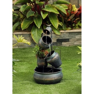 Metal Pot in Pot fountain with flower pot - N/A
