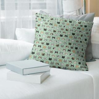 Porch & Den Alecia Kitty Pattern Throw Pillow