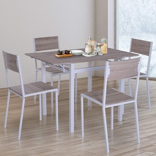 HOMCOM 5 Piece Drop Leaf Counter Height Dining Table and Chairs Set