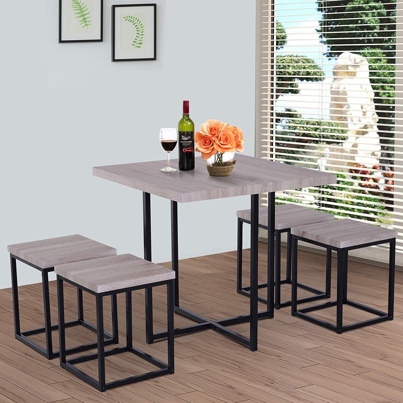 HOMCOM 5 Piece Wood Steel Space Saving Dining Room Table Set