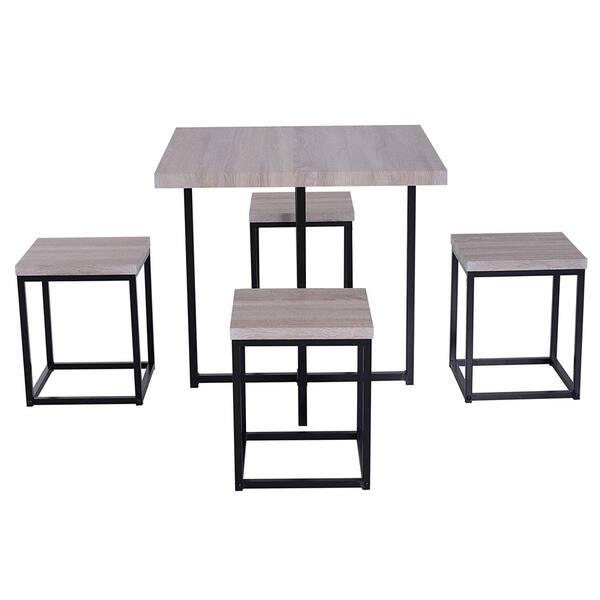 Shop HOMCOM 5 Piece Wood Steel Space Saving Dining Room ...