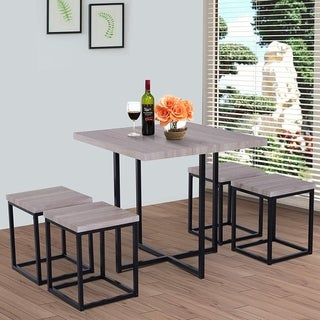 Link to Porch & Den Penn Wood/ Steel Compact 5-piece Dining Table Set Similar Items in Dining Room & Bar Furniture
