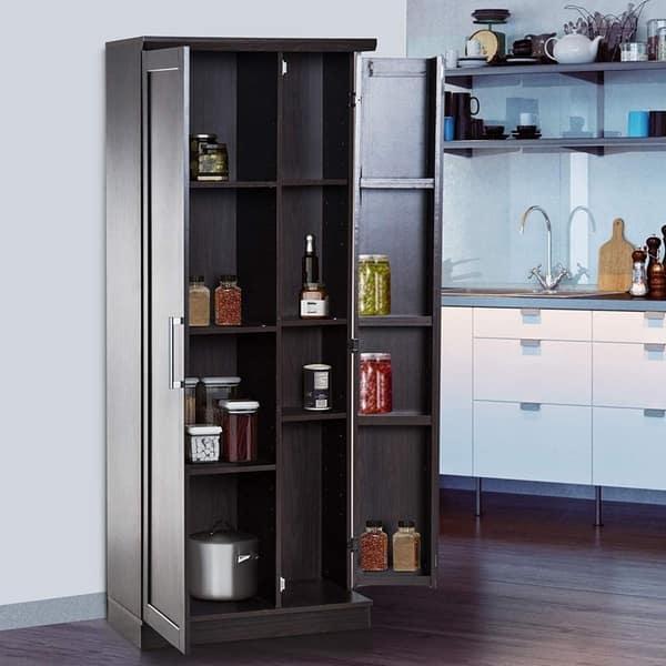 72 Wood Free Standing Kitchen Pantry Organizer Storage Cabinet On Sale Overstock 28288355