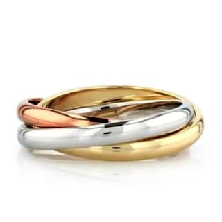 Trinity Russian Rolling Ring Band in Tri Color Gold Plating, 3mm
