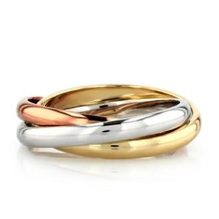 Link to Trinity Russian Rolling Ring Band in Tri Color Gold Plating, 3mm Similar Items in Rings