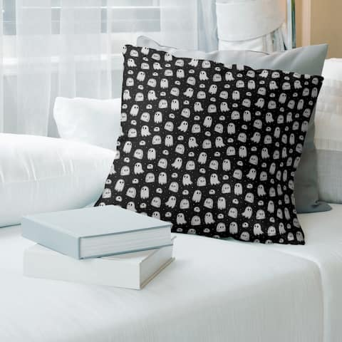 Porch & Den Hibbard Classic Ghost and Tombstone Pattern Throw Pillow