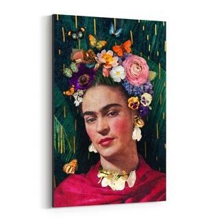 Noir Gallery Frida Kahlo Floral Portrait Canvas Wall Art Print