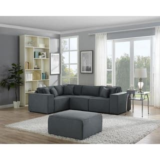 LILOLA Melrose Modular Sectional Sofa with Ottoman in Dark Gray Linen - Grey
