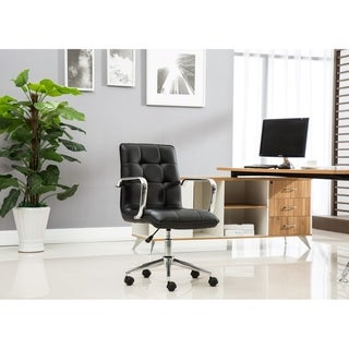 Porthos Home Lucia Adjustable Swivel Office Chair, Tufted PU Leather