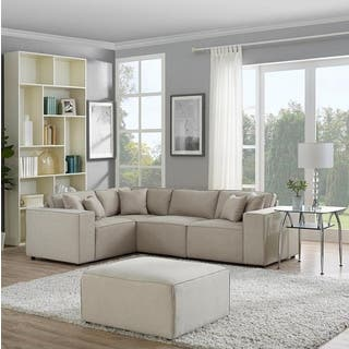 LILOLA Melrose Modular Sectional Sofa with Ottoman in Beige Linen