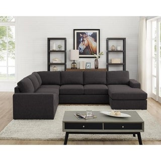 Copper Grove Chatellerault Dark Grey Linen Sectional Sofa and Reversible Chaise