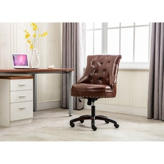 Porthos Home Ezra Swivel Office Chair, Tufted PU Leather Upholstery
