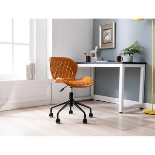 Porthos Home Arlo Swivel Office Chair, Tufted PU Leather Upholstery
