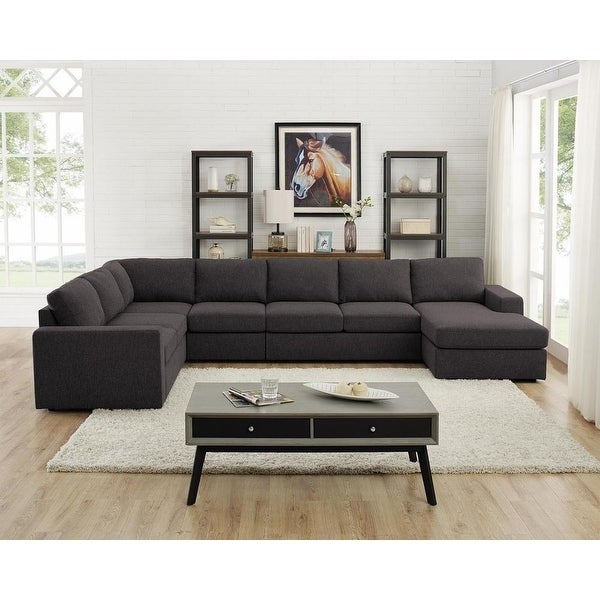 Copper Grove Palaiseau Dark Grey Linen Modular Sectional Sofa and Chaise