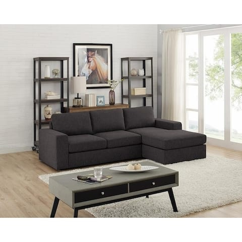 Copper Grove Houilles Dark Grey Linen Sofa and Reversible Chaise