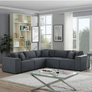 LILOLA Jenson Modular Sectional Sofa in Dark Gray Linen - Grey