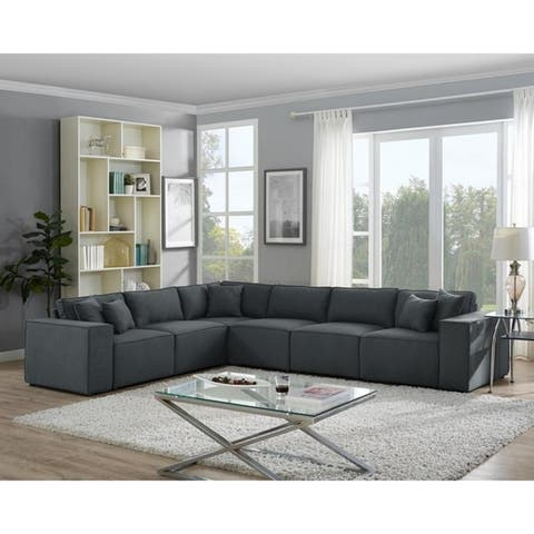Copper Grove Ede Dark Grey Linen Modular Sectional Long Sofa