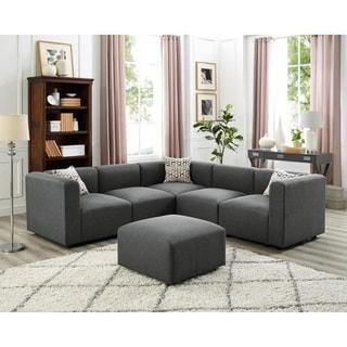 Copper Grove Heres Grey Linen Modular Sectional Sofa