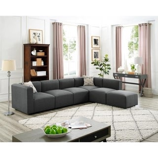 Copper Grove Anglet Grey Linen Modular Sectional Sofa