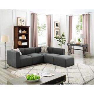 Copper Grove Malabry Grey Linen Modular Sectional Sofa and Ottoman
