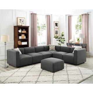Copper Grove Echirolles Grey Linen Modular Sectional Sofa and Ottoman