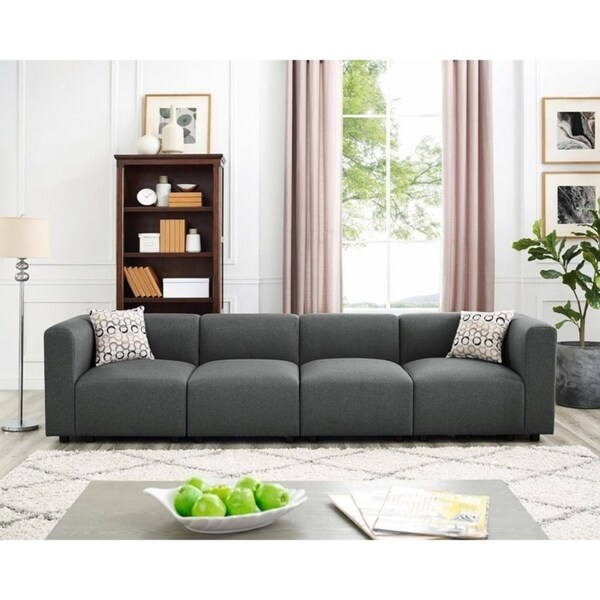 Shop Copper Grove Gagny Steel Grey 4-seat Linen Sofa - On ...