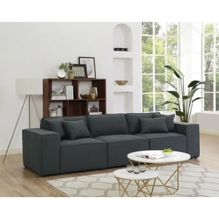 Link to Copper Grove Ede Dark Grey Linen Sofa Similar Items in Sofas & Couches