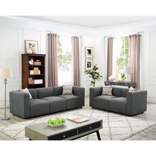 Copper Grove Marne Steel Grey Linen Sofa and Loveseat