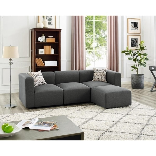 Copper Grove Vitrolles Steel Grey Linen Sofa And Ottoman by Copper Grove