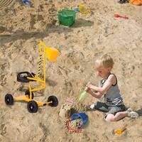 Kinbor Kids Ride-on Sand Digger Metal Digging Crane Excavator Outdoor Sandbox Toy with 4 Wheels