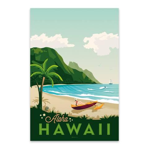 Noir Gallery Vintage Hawaii Travel Print Metal Wall Art Print