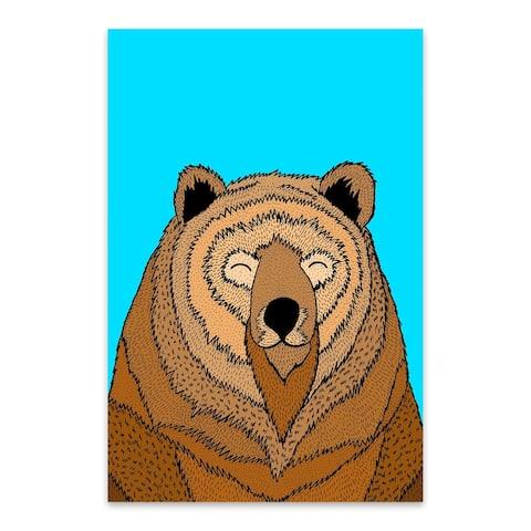 Noir Gallery Funny Bear Animal Illustration Metal Wall Art Print