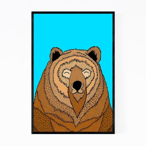 Noir Gallery Funny Bear Animal Illustration Framed Art Print