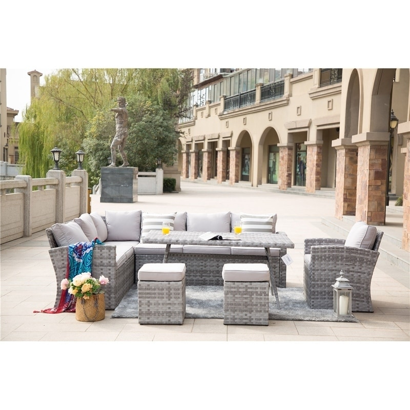 Grey Wicker Outdoor Sectional Sofa Set