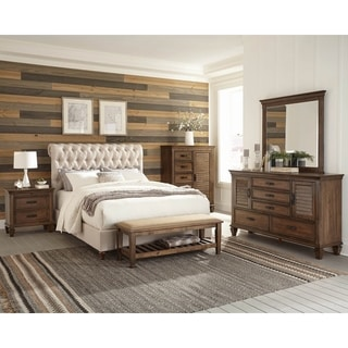 Clemence Burnished Oak and Beige 6-piece Panel Bedroom Set