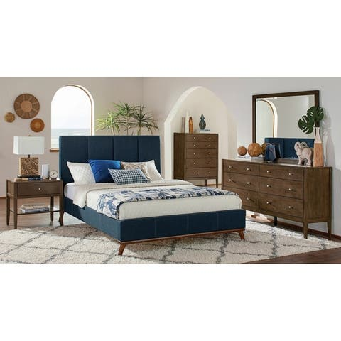 Alden Ash Brown and Blue 5-piece Platform Bedroom Set