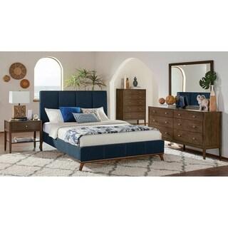 Alden Ash Brown and Blue 3-piece Platform Bedroom Set with Dresser