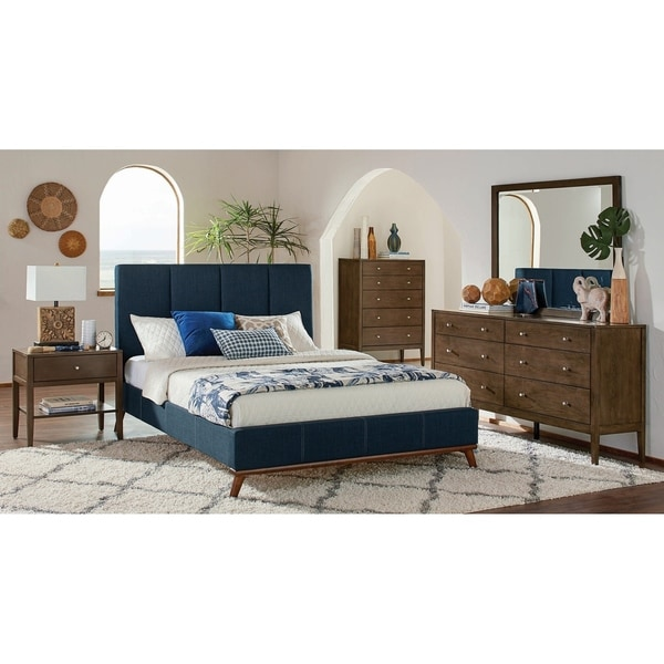 Alden Ash Brown and Blue 3-piece Platform Bedroom Set with Dresser